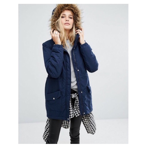 2b111b60e NOISY MAY ASOS FAUX FUR PARKA JACKET NAVY XS
